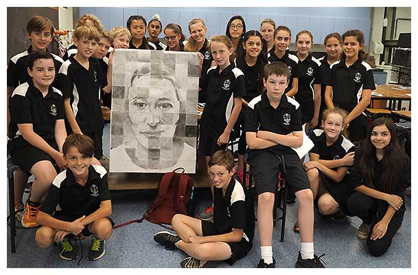 Canberra High Students with their artwork