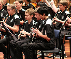 Band students perfomring at the Australian National Eisteddfod