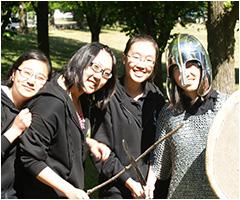 Students enjoying the medieval demonstration