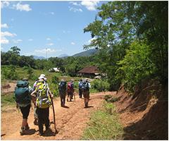Students participating in World Challenge trekking through Vietnam