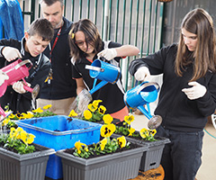 Students learning about gardening