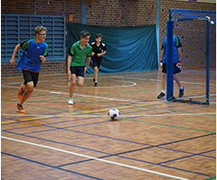 One of the CHS Futsal teams practising in the gym