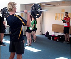 adp students working in strength and conditioning
