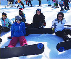 Students ejoying the snow boarding trip