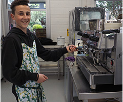 Testing out the new coffee machine in Food technology