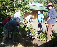 P and C members working on the science courtyard gardens