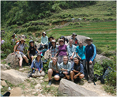 Students trekking through Vietnam