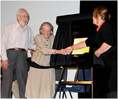 Unveiling the 75th Anniversary Plaque by Mr _ Mrs Knowles and Minister Burch