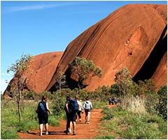 Students walking around Uluru on the Central Australia Trip